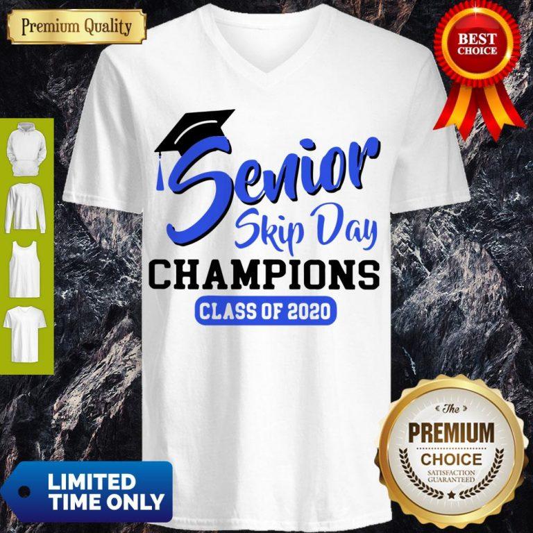 Funny Senior 2020 Skip Day Champs White Blue V-Neck