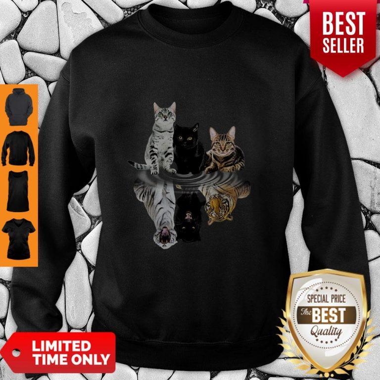 Good Cats Reflection Water Mirror Tigers Sweatshirt