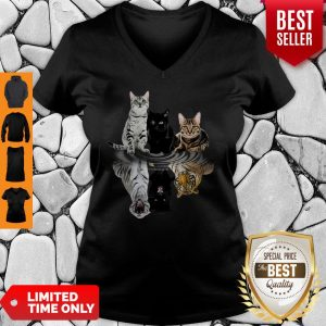 Good Cats Reflection Water Mirror Tigers V-Neck