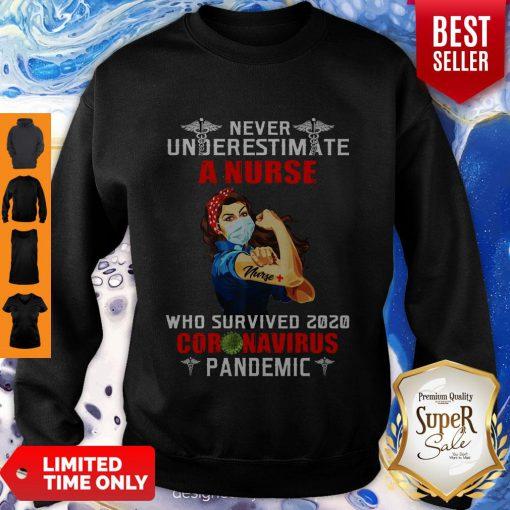 Good Strong Nurse Never Underestimate A Nurse Who Survived 2020 Coronavirus Sweatshirt