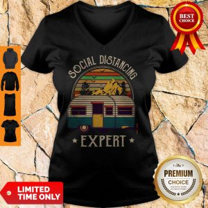 Pretty Nice Camping Social Distancing Expert Vintage V-Neck