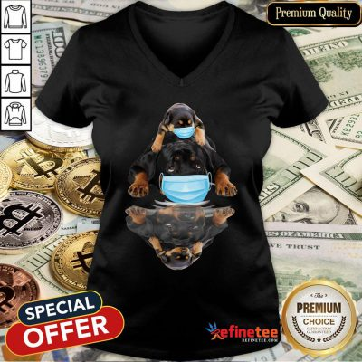 Pretty Rottweilers Mask Water Mirror V-neck - Design By Refinetee