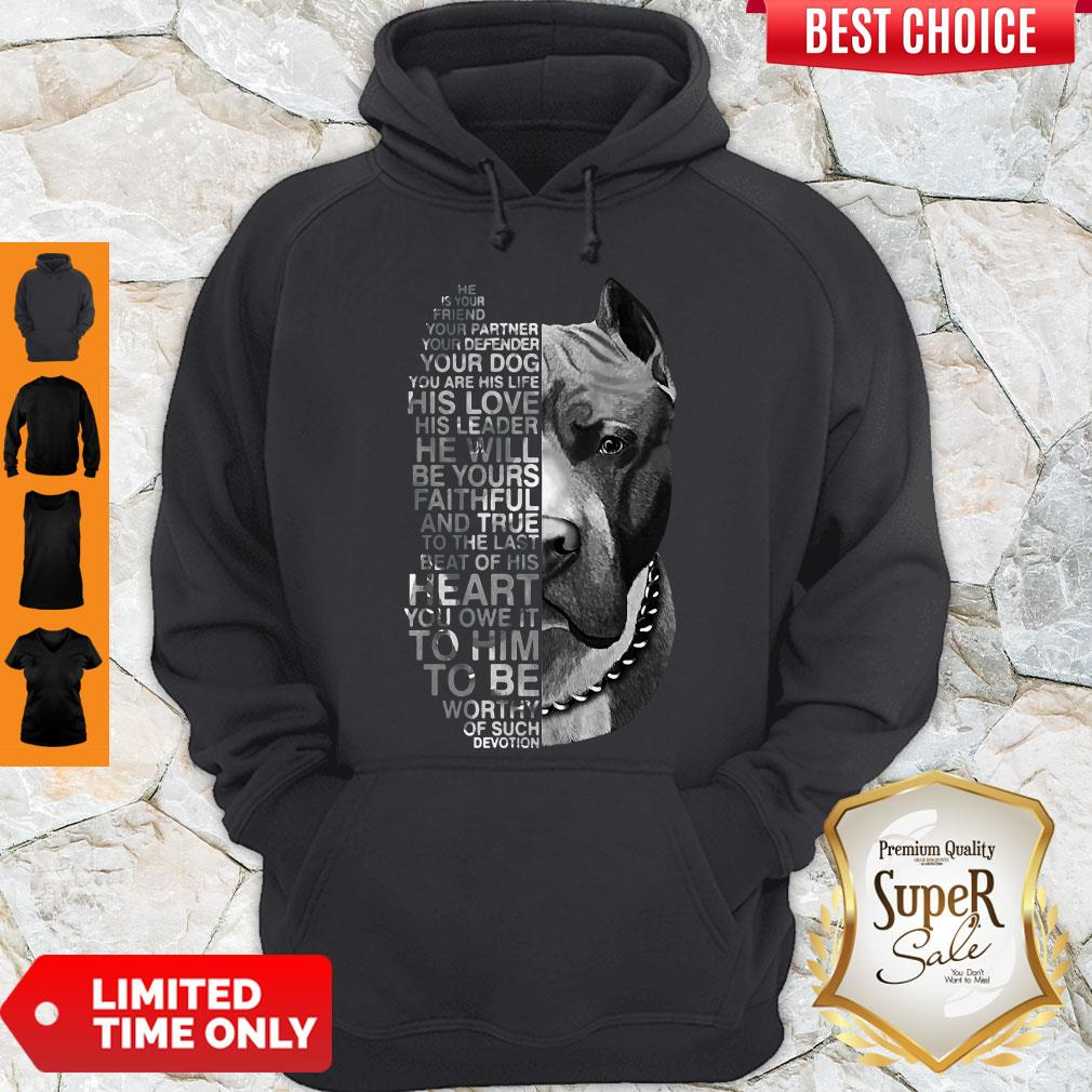Top Pitbull He Is Your Friend Your Partner Youe Defender Hoodie