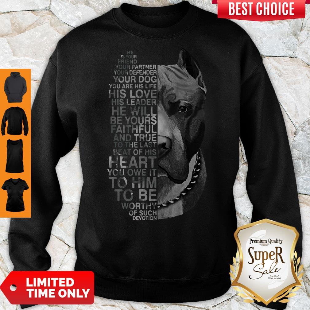 Top Pitbull He Is Your Friend Your Partner Youe Defender Sweatshirt