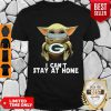 Top Star Wars Baby Yoda Mask Green Bay Packers I Can't Stay At Home Shirt - Design By Refinetee.com