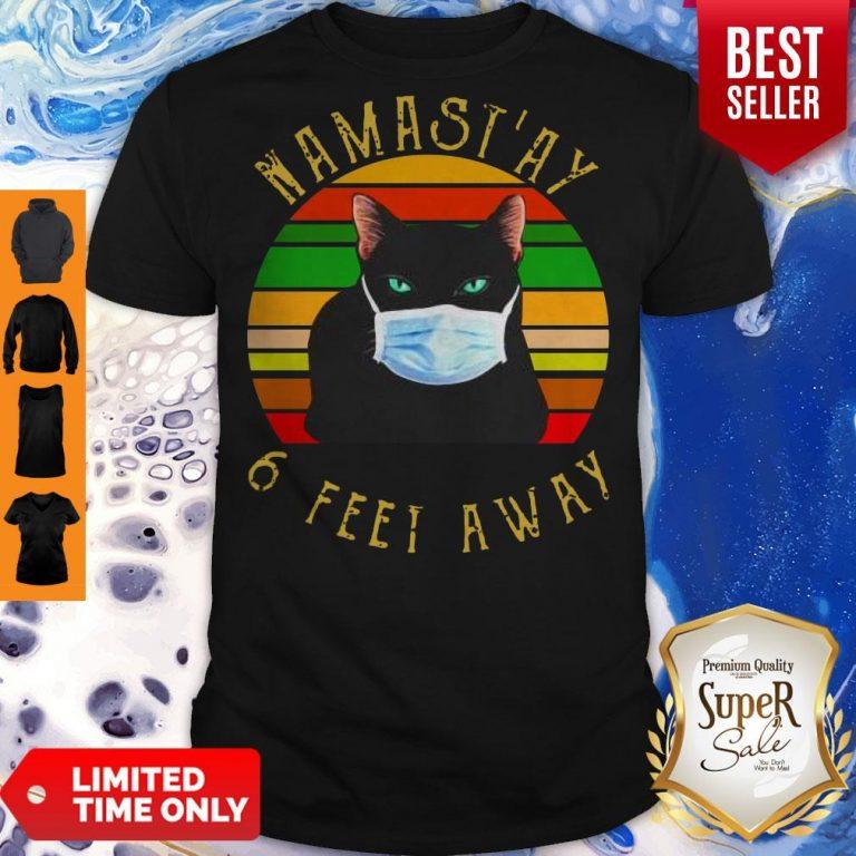 Pro Namastay 6 Feet Away Cat Face Mask Vintage Shirt