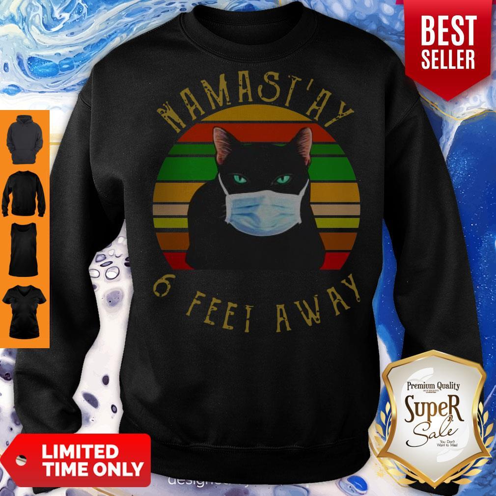 Pro Namastay 6 Feet Away Cat Face Mask Vintage Sweatshirt
