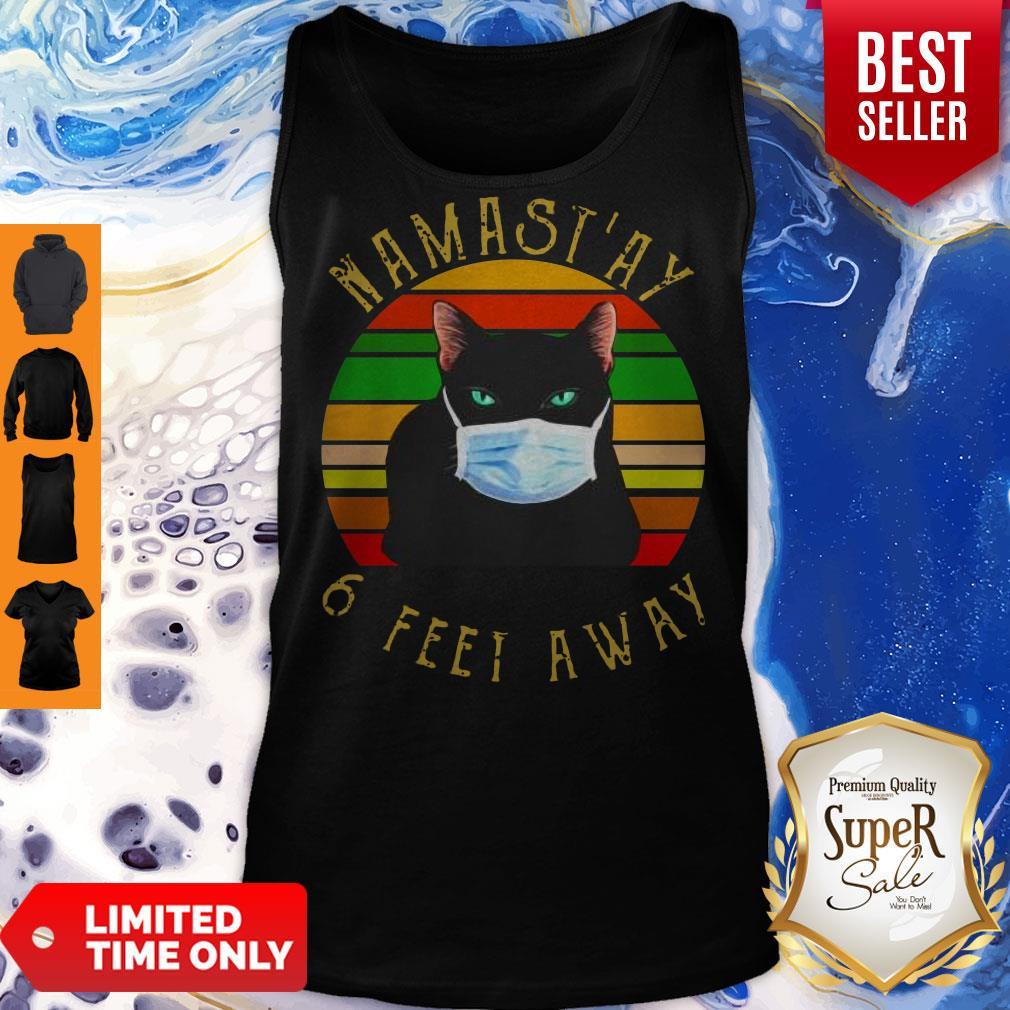 Pro Namastay 6 Feet Away Cat Face Mask Vintage Tank Top