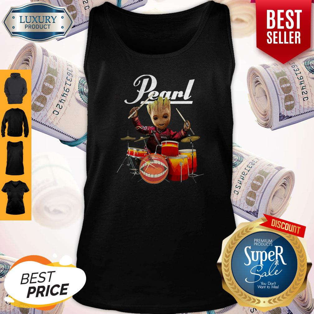 Fretty Baby Groot Show Animal Playing Drum Pearl Tank Top