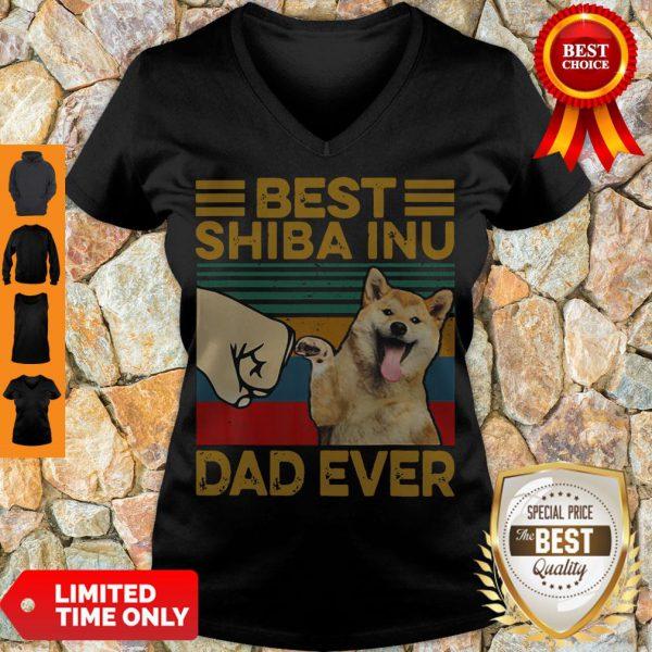 Funny Bear Shiba Inu Dad Ever Vintage V-Neck