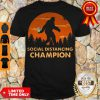 Funny Bigfoot Toilet Paper Social Distancing Champion Sunset Hoodie
