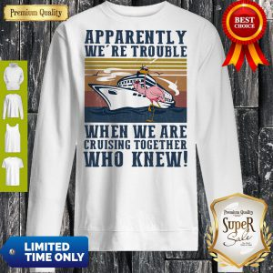 Funny Flamingo Apparently Were Trouble When We Are Cruising Together Who Knew Vintage Sweatshirt