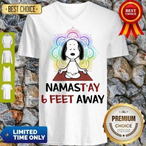 Funny Snoopy Namastay 6 Feet Away V-Neck