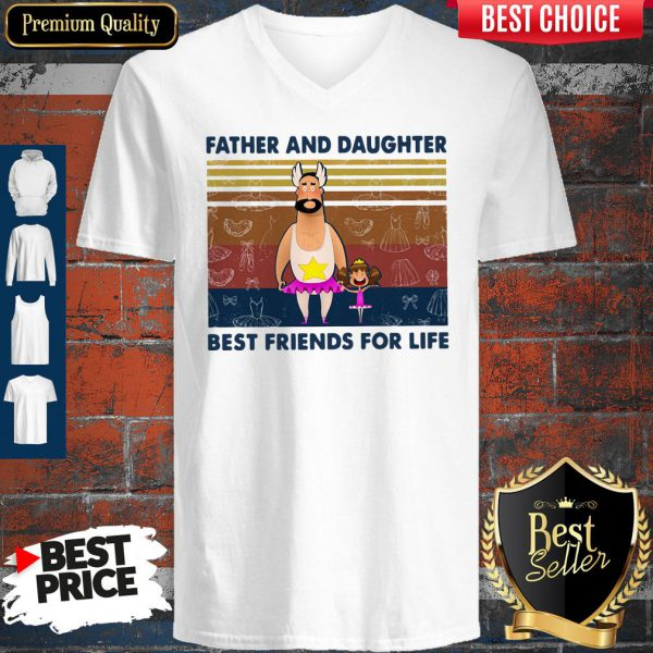 Nice Father And Daughter Best Friends For Life Vintage V-Neck