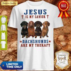 Nice Jesus Is My Savior Dachshunds Are My Therapy Shirt