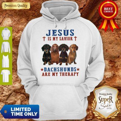 Nice Jesus Is My Savior Dachshunds Are My Therapy Hoodie