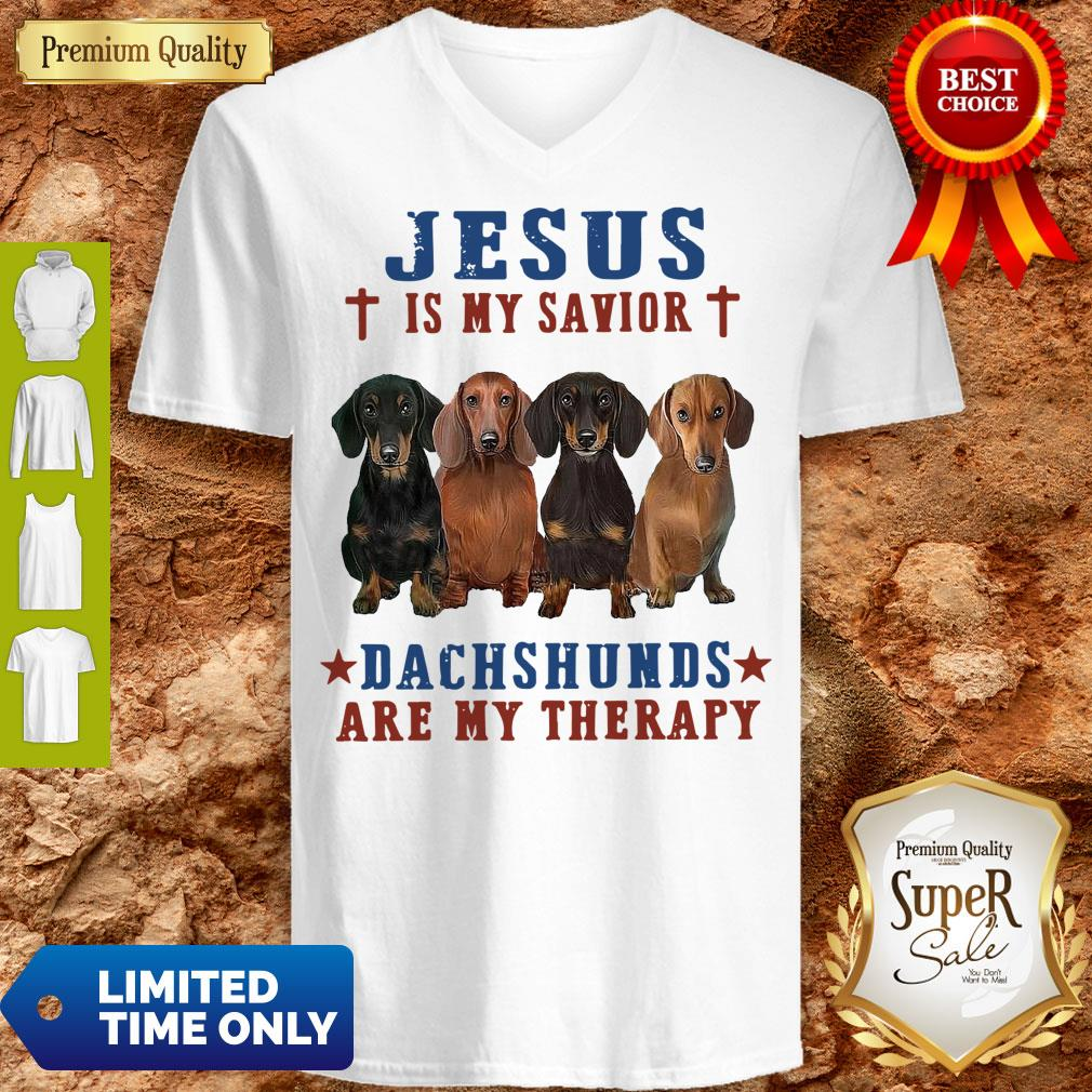 Nice Jesus Is My Savior Dachshunds Are My Therapy V-Neck