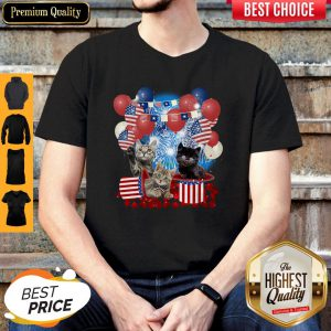 Pretty Cats Balloons Fireworks Independence Day 4th Of July Shirt