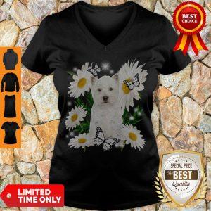 Pro West Highland White Terrier Daisy Flower Classic T-V-Neck