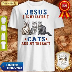 Top Jesus Is My Savior Cats Are My Therapy Shirt