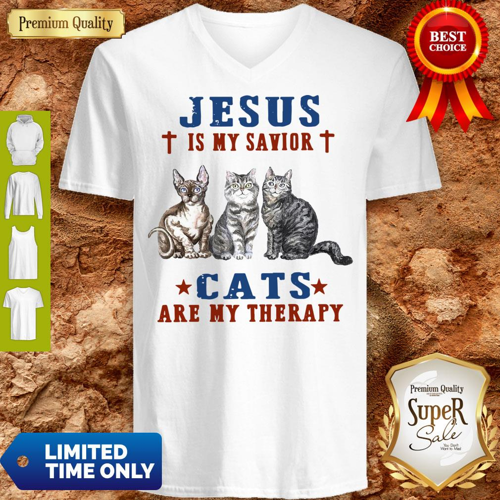 Top Jesus Is My Savior Cats Are My Therapy V-Neck