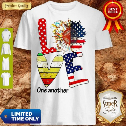 Top Sunflower American Love One Another Vintage Shirt