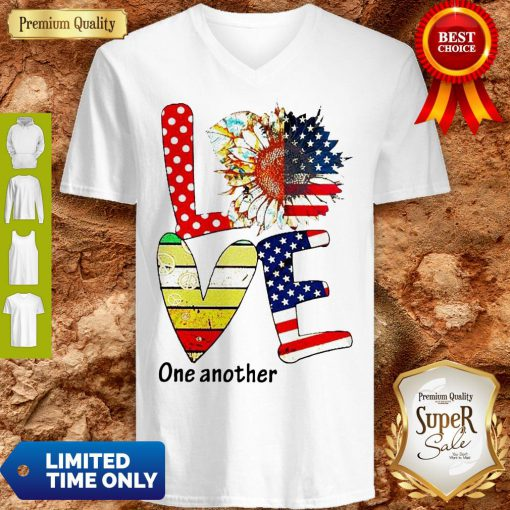 Top Sunflower American Love One Another Vintage V-Neck
