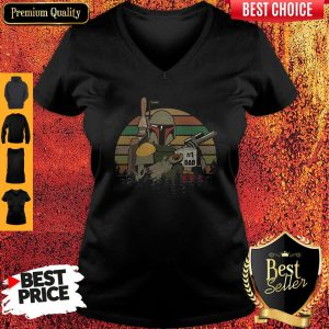 Top The Mandalorian #1 Dad Fathers Day Vintage Sunset V-Neck