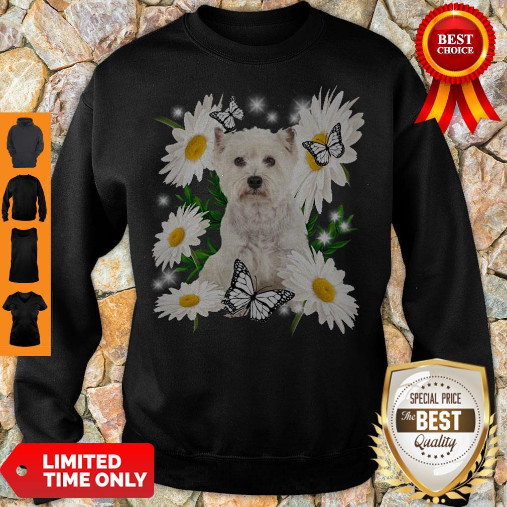 Top Westie Daisy Flower Classic T-Sweatshirt