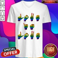 Cute Love Is Love LGBT Sign Language V-neck
