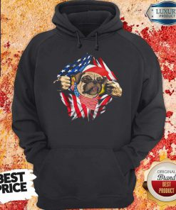 Hot Pug Dog With American Flag 4th Of July Independence Day Hoodie