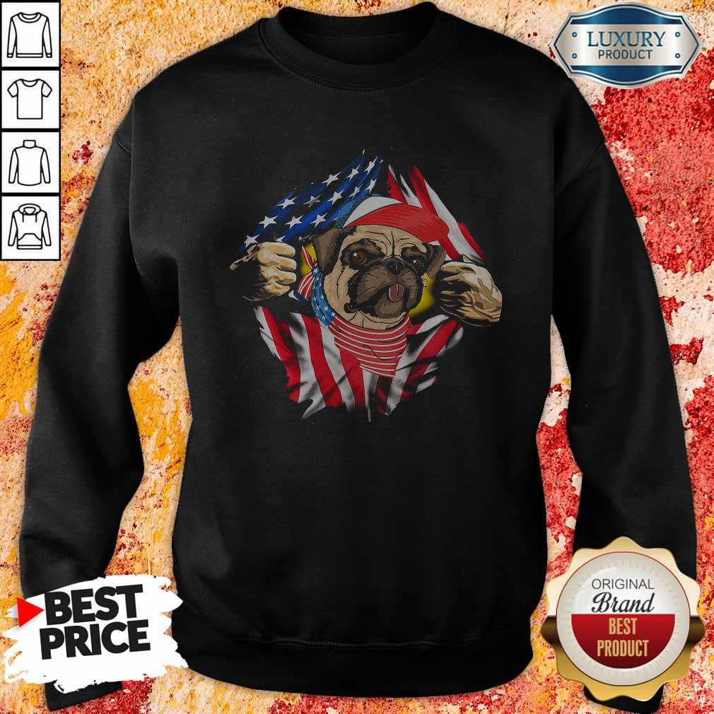 Hot Pug Dog With American Flag 4th Of July Independence Day Sweatshirt