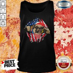 Hot Pug Dog With American Flag 4th Of July Independence Day Tank Top