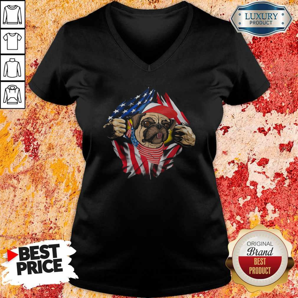 Hot Pug Dog With American Flag 4th Of July Independence Day V-neck