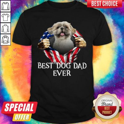 Official Blood Inside Me Shih Tzu Dog American Flag Best Dog Dad Ever Shirt
