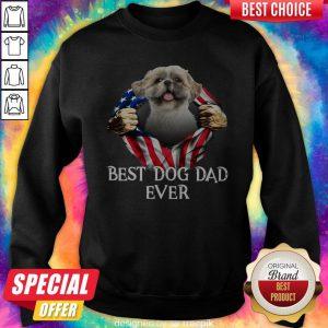 Official Blood Inside Me Shih Tzu Dog American Flag Best Dog Dad Ever Sweatshirt
