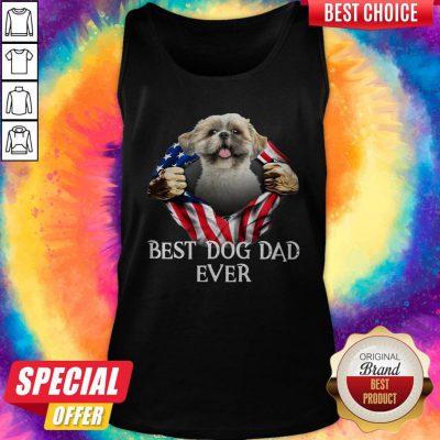 Official Blood Inside Me Shih Tzu Dog American Flag Best Dog Dad Ever Tank Top