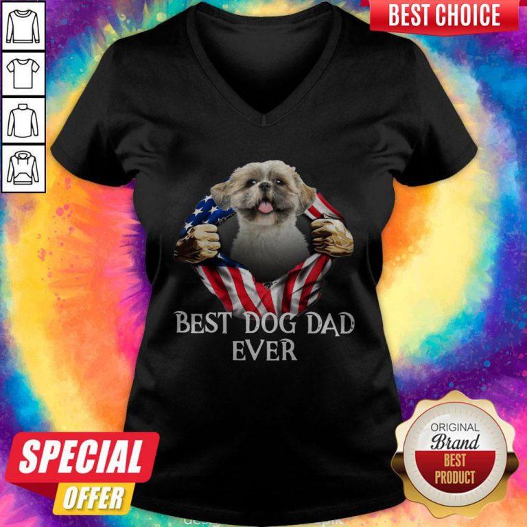 Official Blood Inside Me Shih Tzu Dog American Flag Best Dog Dad Ever V-neck