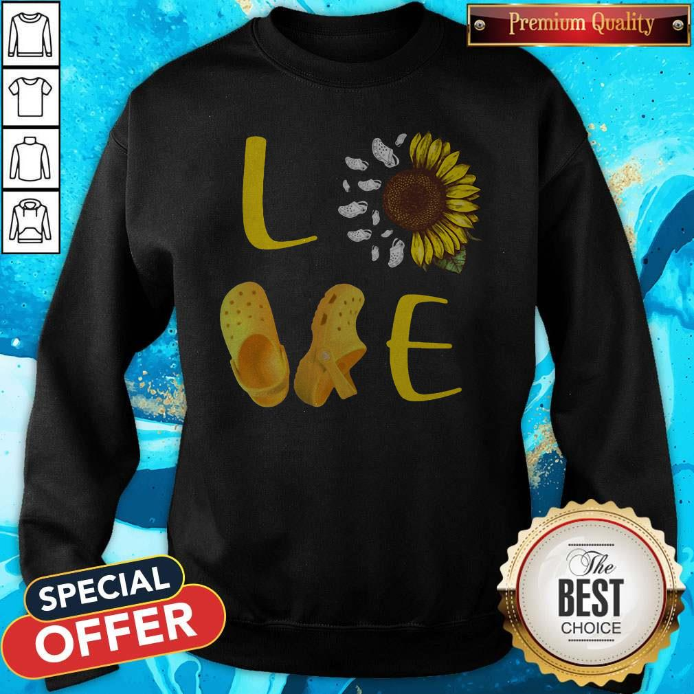 Premium Pretty Sunflower Love Croc Sweatshirt