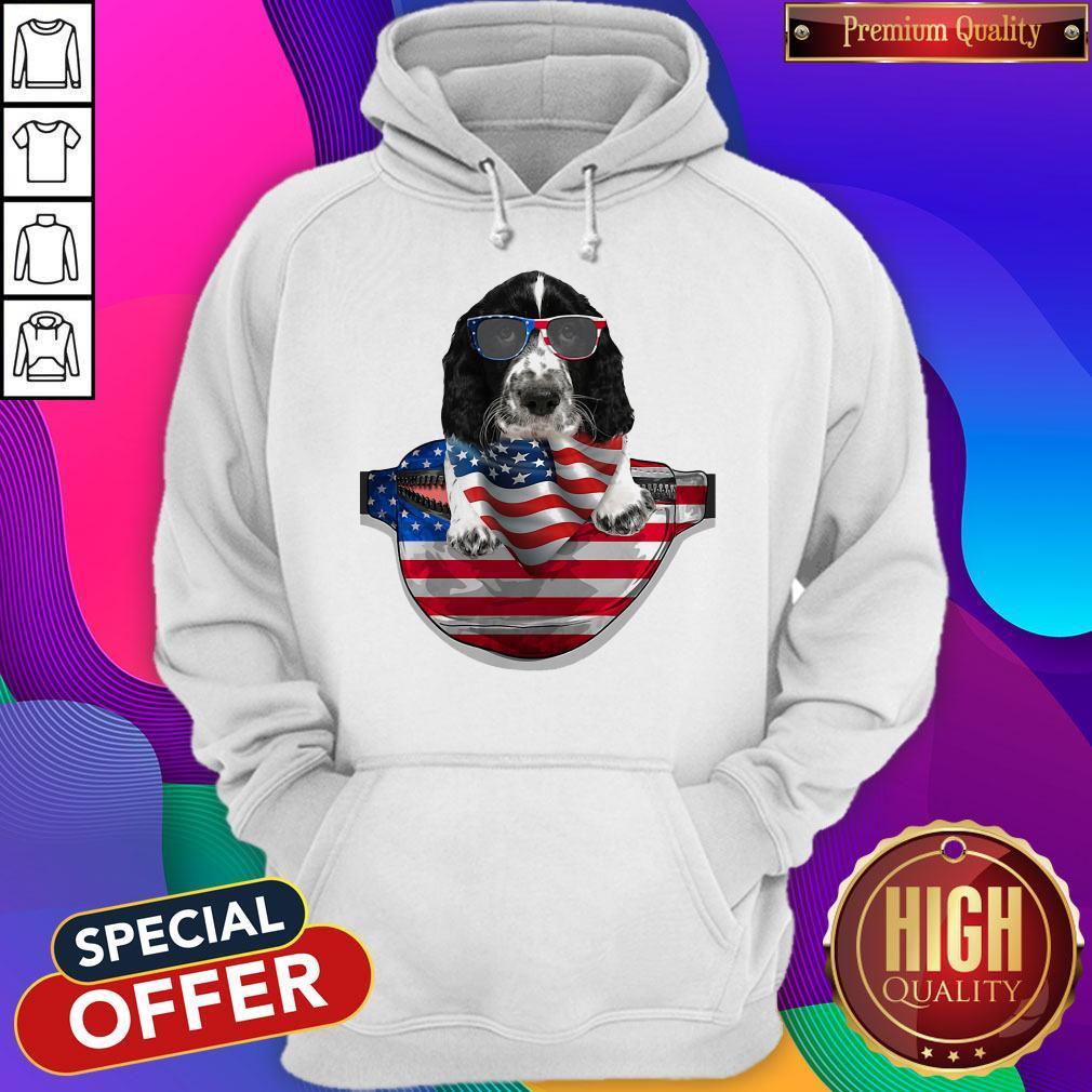 Pro Springer Spaniel Waist Pack Flag American Flag Independence Day Hoodie