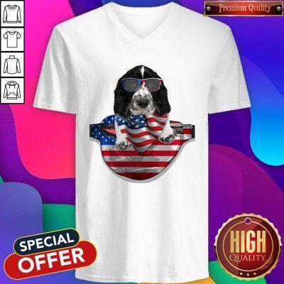 Pro Springer Spaniel Waist Pack Flag American Flag Independence Day V-neck