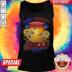Top Bee Make America Sweet Again 4th Of July American Flag Tank Top
