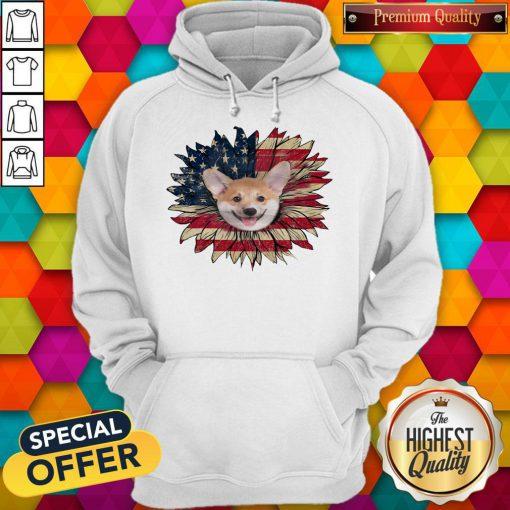 Top Corgi Dog Sunflower American Flag Hoodie