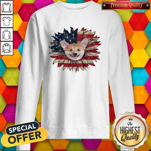 Top Corgi Dog Sunflower American Flag Sweatshirt