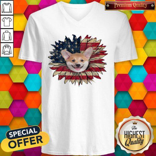 Top Corgi Dog Sunflower American Flag V-neck
