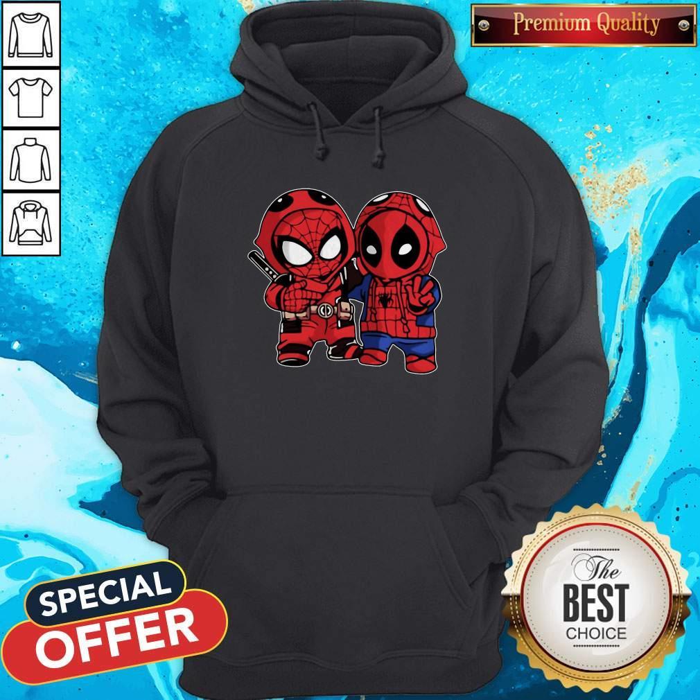 Cute Baby Deadpool And Baby Spider Man Hoodie