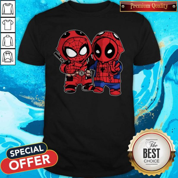 Cute Baby Deadpool And Baby Spider Man Shirt
