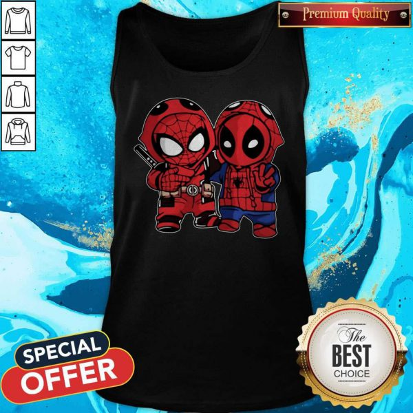 Cute Baby Deadpool And Baby Spider Man Tank Top