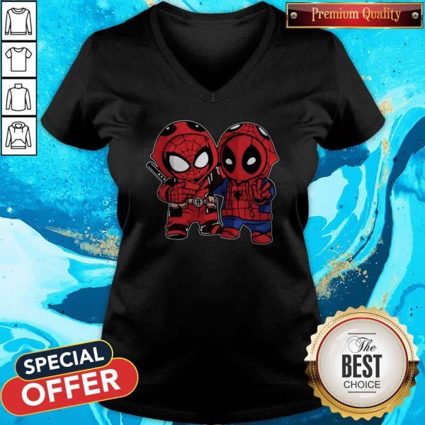Cute Baby Deadpool And Baby Spider Man V-neck