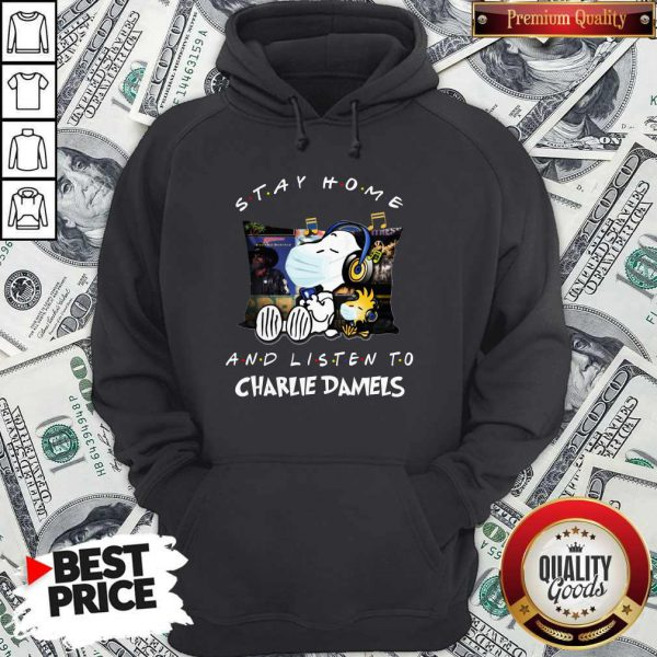 Cute Snoopy Face Mask Stay Home And Listen To Charlie Daniels Hoodie